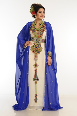 Inner Cream Jacket Royal Blue Georgette Kaftan With Zari Work