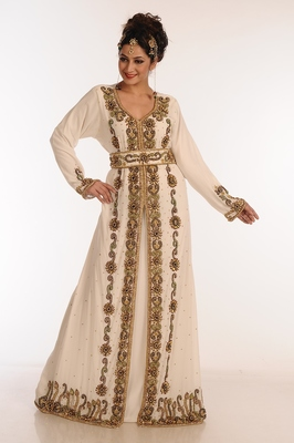 Cream Georgette Kaftan With Zari Work