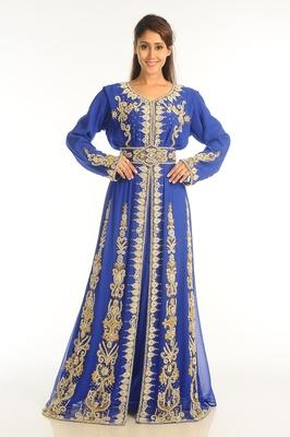 Royal Blue Georgette Kaftan With Zari Work