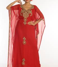 Red georgette kaftan with zari work