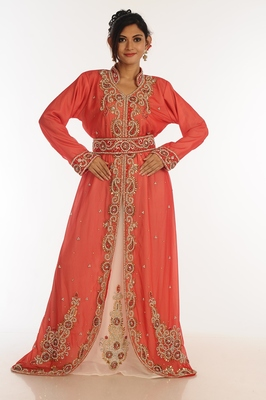 Inner cream jacket red georgette kaftan with zari work