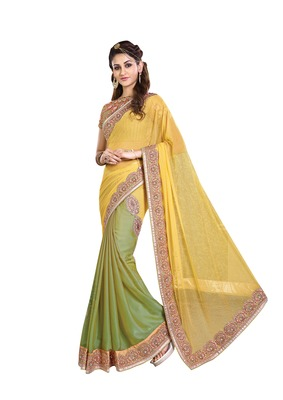Yellow Embroiderd Faux Georgette saree with blouse