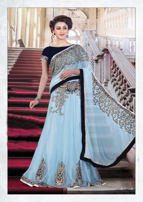 Blue Embroiderd Net Saree With Blouse