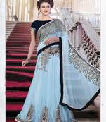Buy Blue Embroiderd Net saree with blouse