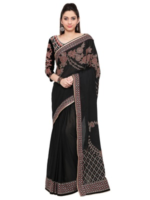 Black Embroiderd Georgette saree with blouse