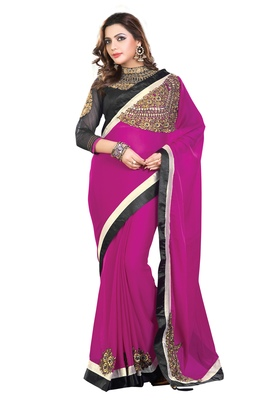 Purple Embroiderd Silk saree with blouse