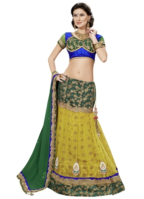 Yellow Color  Semi Stitched Net Lehenga Choli With Blouse