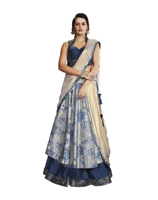 Grey Color Embroidered Semi stitched Lehenga choli With Blouse