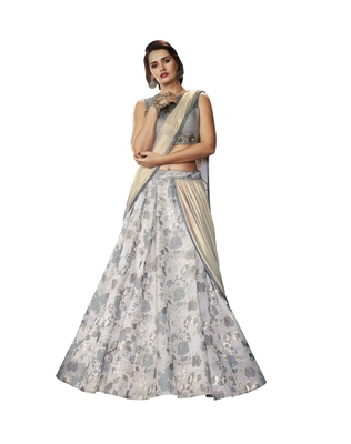 Grey Color printed Semi stitched Lehenga choli With Blouse