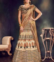 Beige Color Printed Semi Stitched Lehenga Choli With Blouse