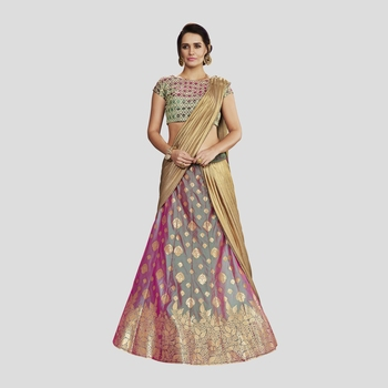 Green and Purple Color printed Semi stitched Lehenga choli With Blouse