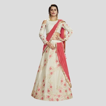 Off White Color printed Semi stitched silk Lehenga With Blouse
