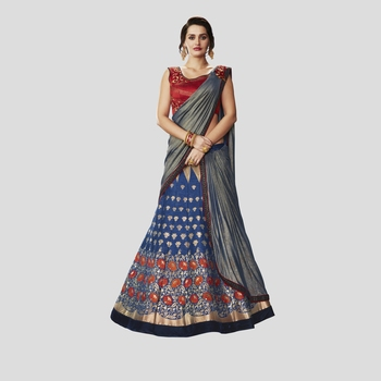 Blue Color Printed Semi Stitched Lehenga Choli With Blouse
