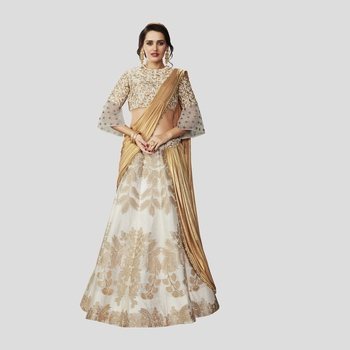 Off White Color printed Semi stitched Lehenga choli With Blouse