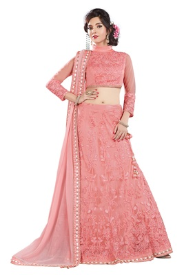 Pink Color net Embroidered Semi Stitched Lehenga Choli With Blouse
