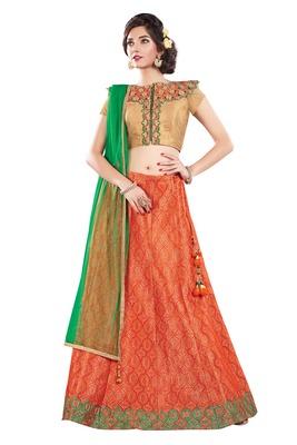 Orange Color Silk Designer Semi  Stitched Lehenga Choli