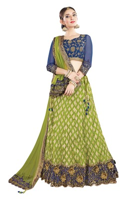 Green Color silk Embroidered Semi Stitched Lehenga Choli With Blouse