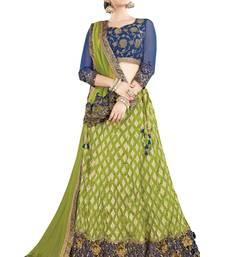 Buy Green Color silk Embroidered Semi Stitched Lehenga Choli With Blouse lehenga-choli online