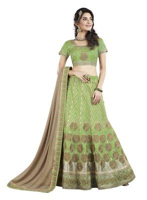 Green Color Silk Designer Semi  Stitched Lehenga Choli