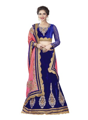 Blue Color Velvet Wedding Wear Semi Stitched Lehenga Choli With Blouse