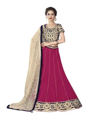 Pink Color Semi Stitched Lehenga Choli With Blouse