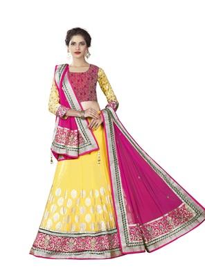 Yellow Color Net Designer Semi  Stitched Lehenga Choli