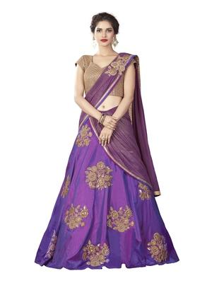 Purple color silk designer semi  stitched lehenga choli
