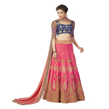 Pink Color Silk Wedding Wear Semi-Stitched Lehenga Choli With Blouse