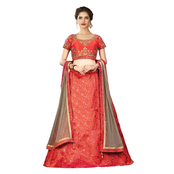 e505a2f1803 Orange color silk designer semi stitched lehenga choli - Mahotsav E  Solution - 2633793