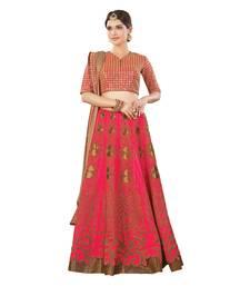 Buy Pink Color Silk Wedding Wear Semi Stitched Lehenga Choli With Blouse lehenga-choli online
