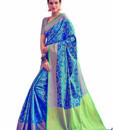 Buy Blue woven patola saree with blouse traditional-saree online