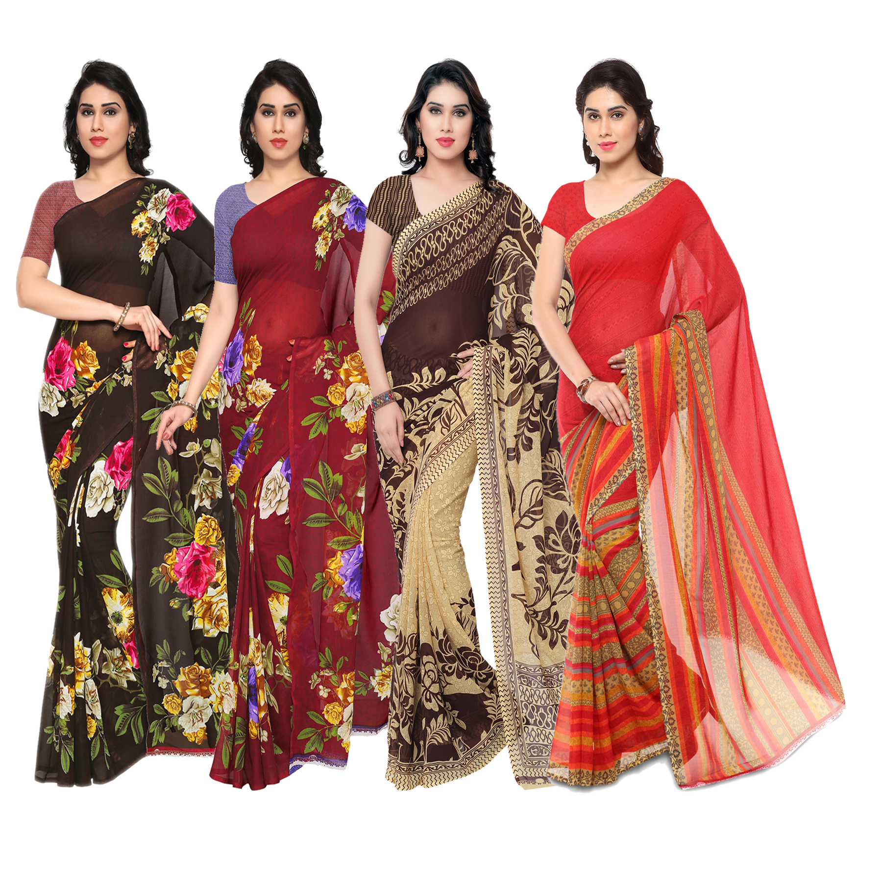 bd53a77f11b multicolor printed pack of 4 saree with blouse - Anand Saree - 2634148