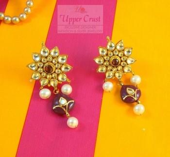 Huge Polki Kundan Pearl Earrings