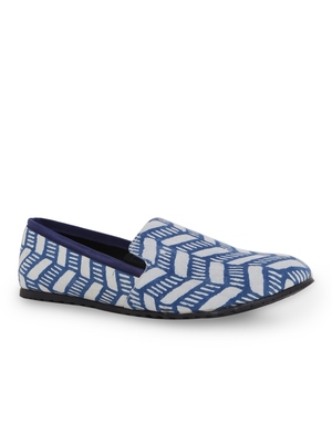 Men's Blue TPR Sole Material Printed Moccasins Slip Ons