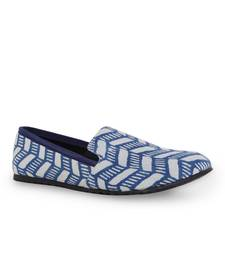 Buy men's blue tpr sole material printed moccasins slip ons footwear online
