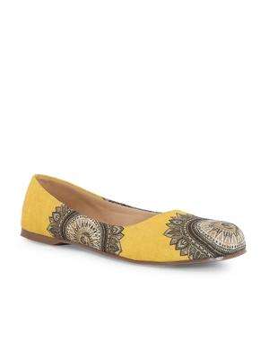 Women's Yellow Casual Synthetic Mesh Ballerinas Shoe