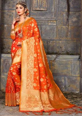 319149516f Orange woven banarasi silk saree with blouse - Monjolika - 2635466
