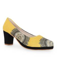 Women's Yellow Croslite Sole Material Ballerinas High Heel Sandal