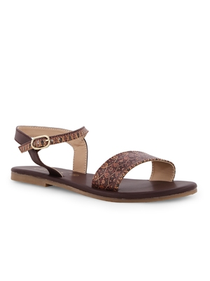 Women's Brown TPR Sole Material Printed Chappal