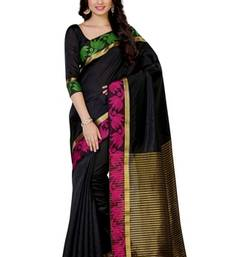 Black Woven Tussar Silk Saree With Blouse
