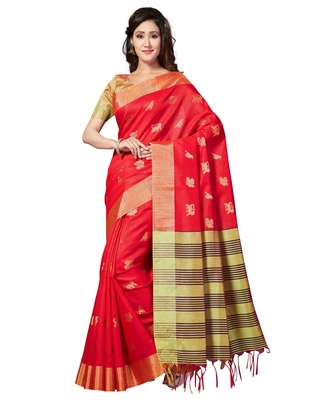 bb5a511ece9f4 Red woven art silk saree with blouse - Saree Swarg - 2634672