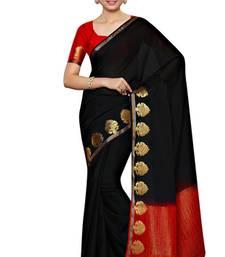 Buy Black woven crepe saree with blouse art-silk-saree online