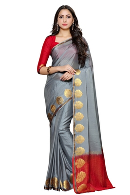 Grey woven crepe saree with blouse