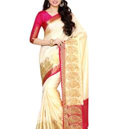 Off-white woven art silk saree with blouse