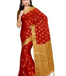 Red woven crepe saree with blouse