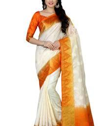 Buy Off-white woven tussar silk saree with blouse tussar-silk-saree online