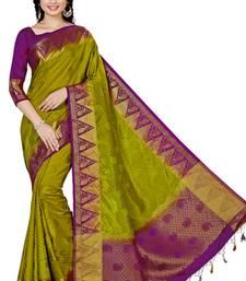 Buy Green woven tussar silk saree with blouse tussar-silk-saree online