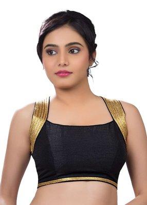 black banglore silk unstiched blouse fabric