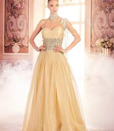 Khwaab Cream and Gold Criss-Cross Backless Evening Partywear Embroidered Stitched Gown