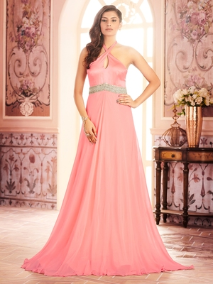 Khwaab Rose Pink Neck Tied Evening Partywear Embroidered Stitched Gown